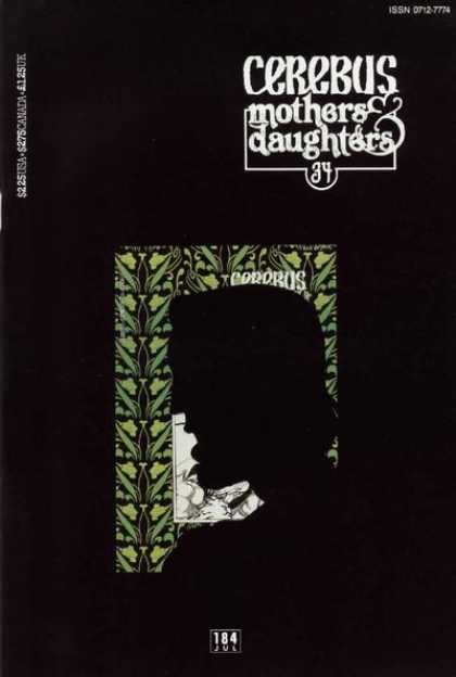 Cerebus 184 - Mothers U0026 Daughters - Silhouette - 184 - Green Wall Paper - Man - Dave Sim