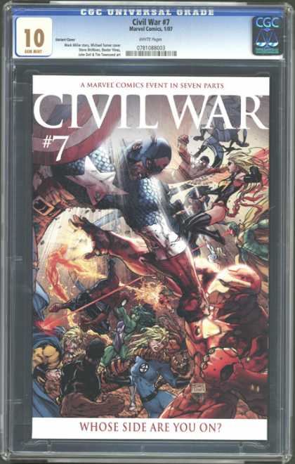 CGC 10 Comics 15 - Civil War Comic - Volume Number 7 - Captain America - Seven Part Book - Battle On The Cover