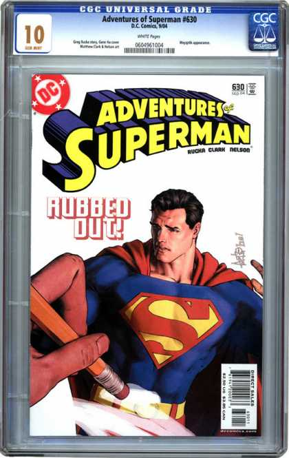CGC 10 Comics - Adventures of Superman #630 (CGC) - Superman - Rubbed Out - Eraser - Hand - Pencil