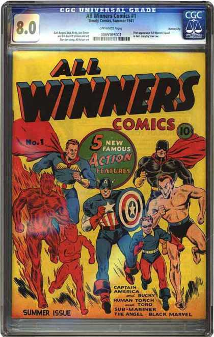 CGC Graded Comics - All Winners Comics #1 (CGC) - Captain America - Bucky Human Torch - Toro Submachiner - The Angel - Famous Action Features