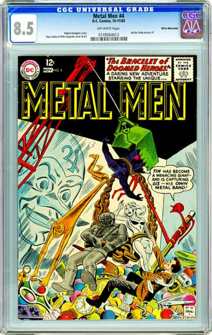 CGC Graded Comics - Metal Men #4 (CGC) - The Bracellet Of Doomed Neroes - A Daring New Adventure Starring The Unique - Tin Has Become A Menacing Giantand Is Capturing Us His Own Metal Brand - Art - Hanging
