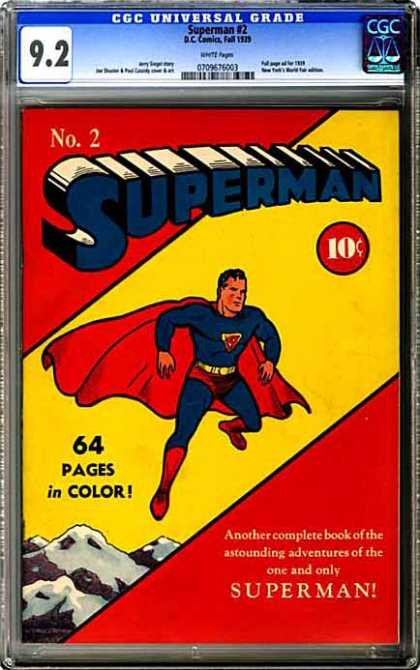 CGC Graded Comics - Superman #2 (CGC) - Cgc Universal Grade - No2 Superman - 10 - 64 Pages In Colour - Superman Picture