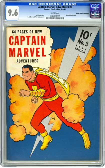 CGC Graded Comics - Captain Marvel Adventures #3 (CGC) - Captain Marvel - Lightening Bolt - Smoke - Cape - Red Outfit