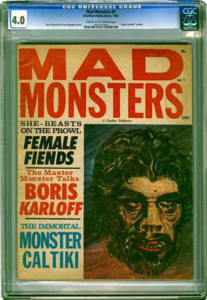CGC Graded Comics - Mad Monsters #3 (CGC) - Mad Monsters - She-beasts On The Prowl - Female Fiends - The Master Monster Talks - Boris Karloff