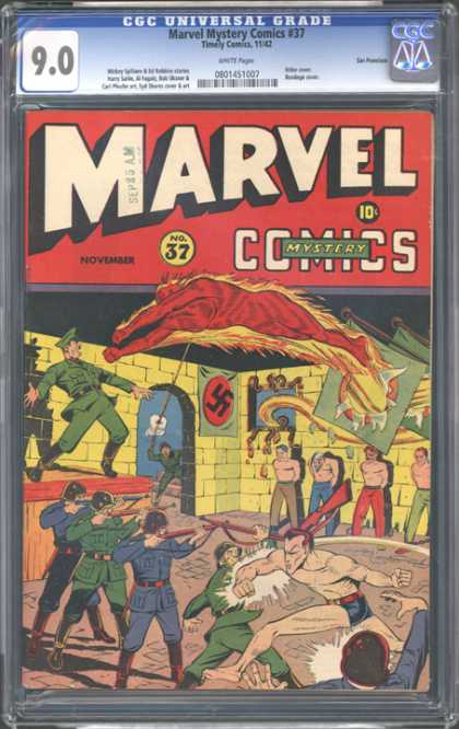 CGC Graded Comics - Marvel Mystery Comics #37 (CGC) - Marvel - Super Man - Police - Prisioners - Wall
