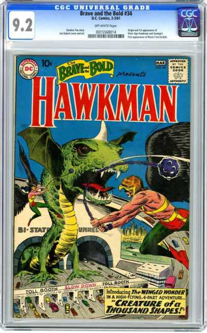 CGC Graded Comics - Brave and the Bold #34 (CGC) - Brave And The Bold - Winged Wonder - Creature Of A Thousand Shapes - Universal Grade - Hawkman