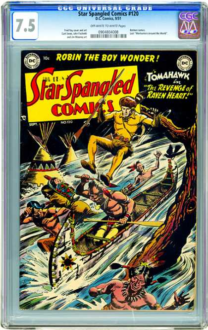 CGC Graded Comics - Star Spangled Comics #120 (CGC) - Star Spangled Comics - Man - Rifle - Water - Tree