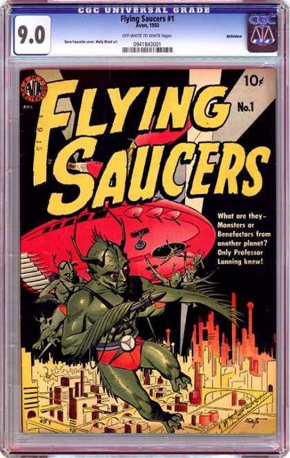 CGC Graded Comics - Flying Saucers #1 (CGC) - Flying Saucers - What Are They Monsters Or Benefactors From Another Planet Only Professor Lenning - Aliens - Space Ship - A City Under Threat