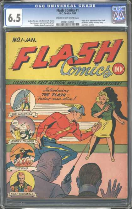 CGC Graded Comics - Flash Comics #1 (CGC) - The Hawkman - Johnny Thunder - The Whip - Cliff Cornwall - Lightning Fast Action