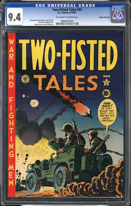 CGC Graded Comics - Two-Fisted Tales #23 (CGC) - Two-fisted Tales - War And Fighting Men - Burning Airplane - 2 Army Gis - Explosion