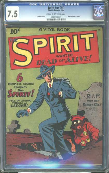 CGC Graded Comics - Spirit #nn (CGC) - Grave - Wanted Dead Or Alive - The Spirit - Rip Here Lies Dinny Colt - Tombstone