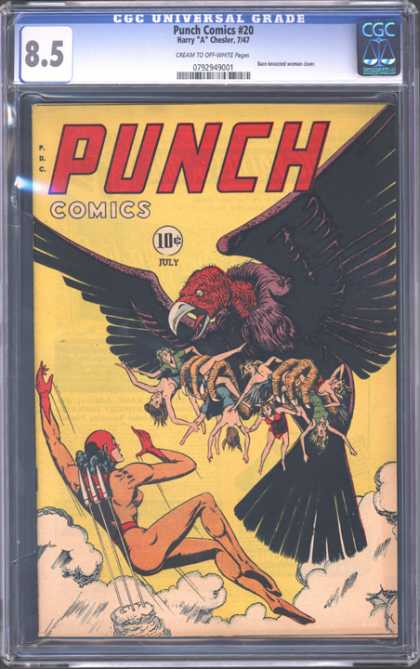 CGC Graded Comics - Punch Comics #20 (CGC) - Comic Author Harry A Chesler - Punch Comics Female Superhero - Giant Vulture With Victims In Claws - Rare Vintage Punch Comic - Superheroine Vs Giant Vulture