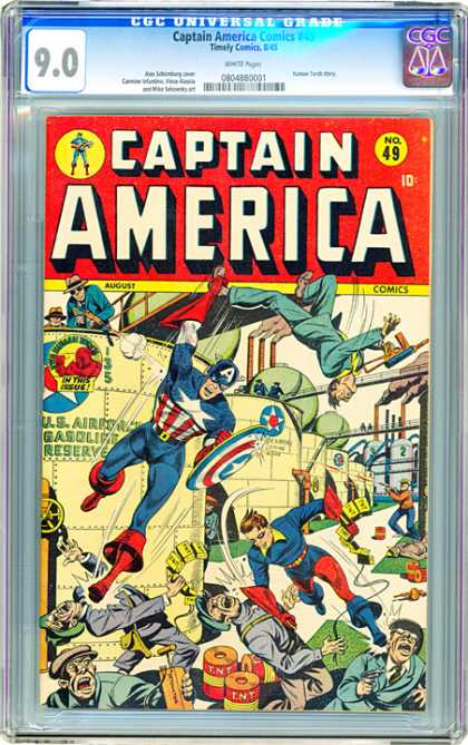CGC Graded Comics - Captain America Comics #49 (CGC) - Mafia - Machine Guns - Shield - Fight - Chaos