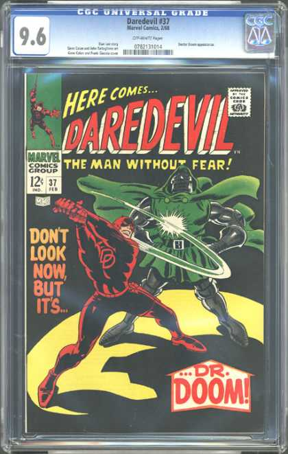 CGC Graded Comics - Daredevil #37 (CGC) - Marvel - February - 12 Cents - Dr Doom - Stance