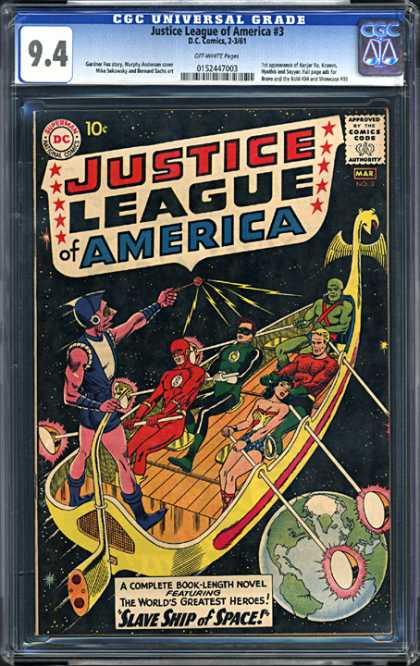CGC Graded Comics - Justice League of America #3 (CGC) - Slave Ship Of Space - Wonder Woman - Aquaman - Flash - Green Lantern