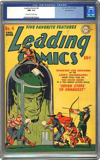 CGC Graded Comics - Leading Comics #4 (CGC) - Fire - People - Sword - Hammer - Stick
