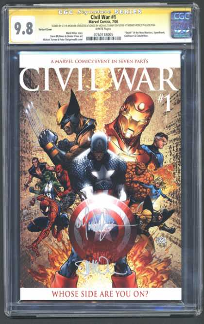 CGC Graded Comics - Civil War #1 (CGC) - Seven Parts - Wolverine - Iron Man - Spiderman - Captain America