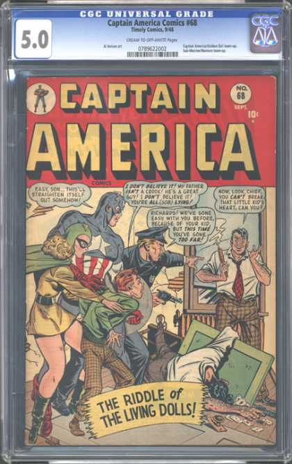 CGC Graded Comics - Captain America Comics #68 (CGC) - Office - Hero - Police - Trouble - Gun