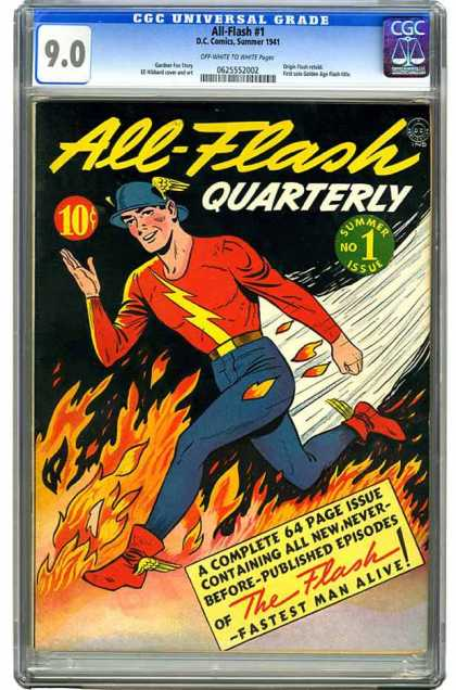 CGC Graded Comics - All-Flash #1 (CGC) - Fire - Flames - 10 Cents - All-flash Quarterly - The Flash
