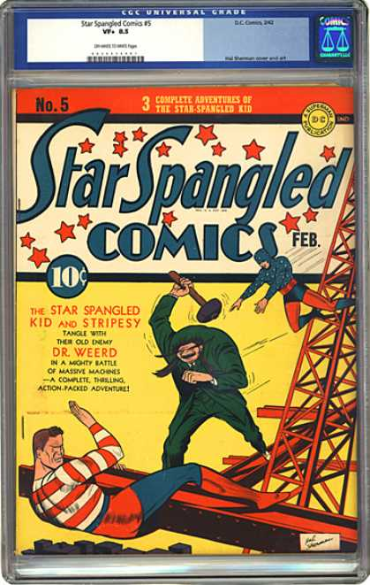 CGC Graded Comics - Star Spangled Comics #5 (CGC) - Star Spangled Kid - Stripesy - Metal Tower - Hammer - Dr Weerd