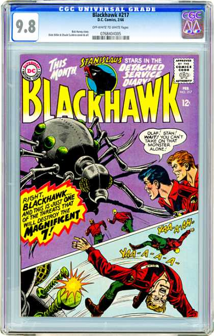 CGC Graded Comics - Blackhawk #217 (CGC) - Blackhawk - Stanislaus - Magnificent 7 - Detached Service Dairy - Spider