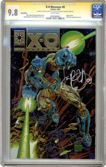 CGC Graded Comics - X-O Manowar #0 (CGC) - Valiant - X-o Manowar - Signed - Green Beams - Space
