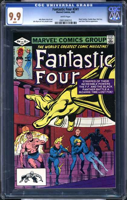 CGC Graded Comics - Fantastic Four #241 (CGC) - Back And White Spiderman - Battle A Bizarre Time-lost Foe - Columns In A Row - Large Gold Gloved Hand - Stripped Of Their Incredible Powers