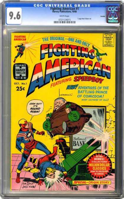 CGC Graded Comics - Fighting American #1 (CGC) - Speedboy - Round Robin - Adventures Of The Battling Prince Of Comicdom - Most Imitated Of All - Bank Robbery