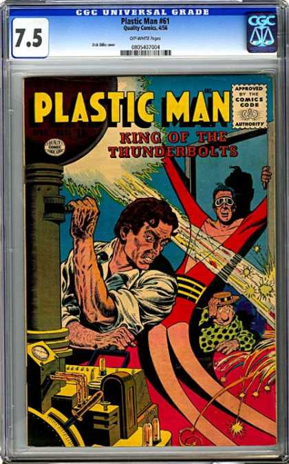 CGC Graded Comics - Plastic Man #61 (CGC) - Plastic Man - King Of The Thunderbolts - 61 - Approved Comics Code Authority - Polka Dots