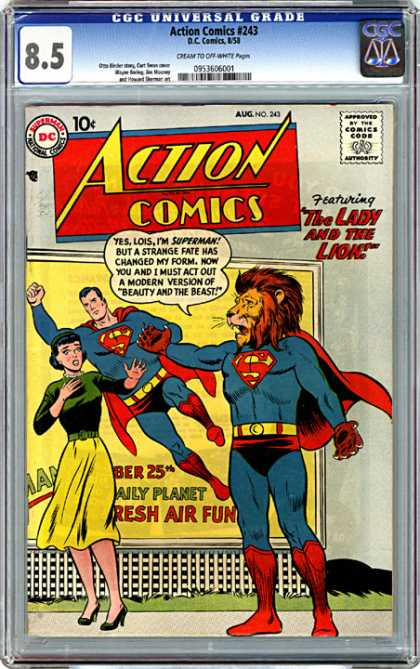 CGC Graded Comics - Action Comics #243 (CGC) - Lois - Superman - The Lady And The Lion - Beauty And The Beast - Grass