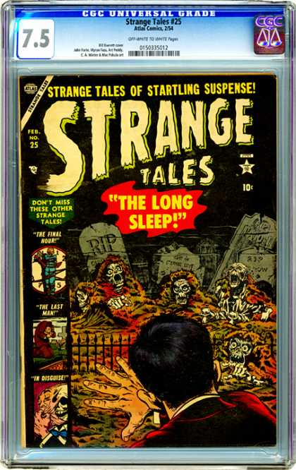 CGC Graded Comics - Strange Tales #25 (CGC) - Graveyard - Skeletons - Rip - Scary - The Long Sleep