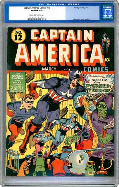 CGC Graded Comics - Captain America Comics #12 (CGC) - Captain America - Costumes - Superhero - Dr Crime - Pygmies Of Terror