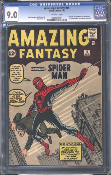 CGC Graded Comics - Amazing Fantasy #15 (CGC) - Amazing Fantasy - Spiderman - Peter Parker - Web-swinging - Apartment Building