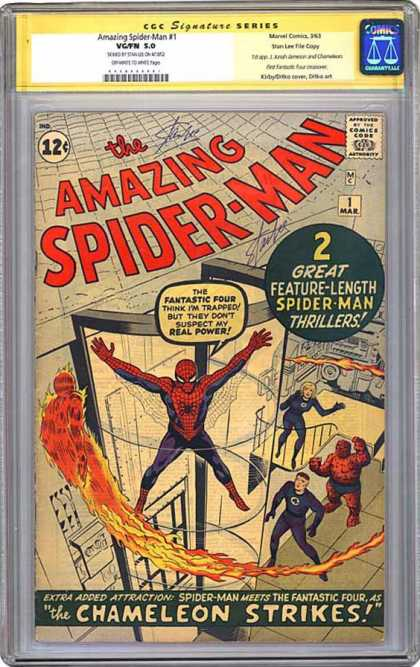 CGC Graded Comics - Amazing Spider-Man #1 (CGC) - Spider-man - Fantastic Four - The Thing - Chamelion - Human Torch