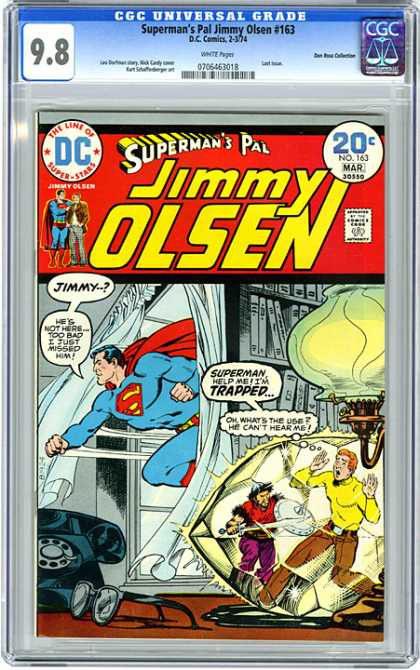 CGC Graded Comics - Superman's Pal Jimmy Olsen #163 (CGC) - Trapped - Lamp - Bookcase - Flying Through Window - Telephone