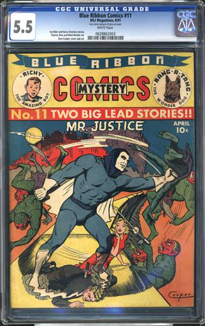 CGC Graded Comics - Blue Ribbon Comics #11 (CGC) - Blue Ribbon - Mystery Comics - Mr Justice - Fighting - Superheroe
