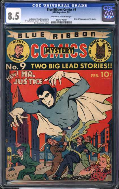 CGC Graded Comics - Blue Ribbon Comics #9 (CGC) - Blue Ribbon - Mr Justice - Attack On City - Mystery - Mystery Comics
