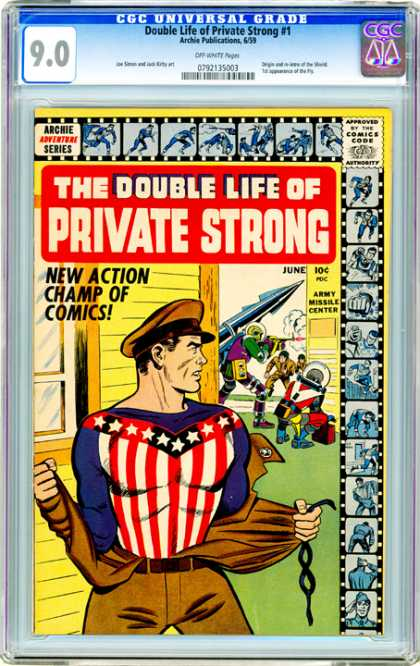 CGC Graded Comics - Double Life of Private Strong #1 (CGC) - June - Army Missile Center - Action - Champ - Comics