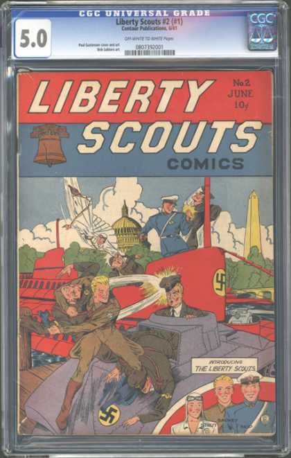 CGC Graded Comics - Liberty Scouts #2 (#1) (CGC) - Swastika - Submarine - Washington Dc - The Whitehouse - Clouds