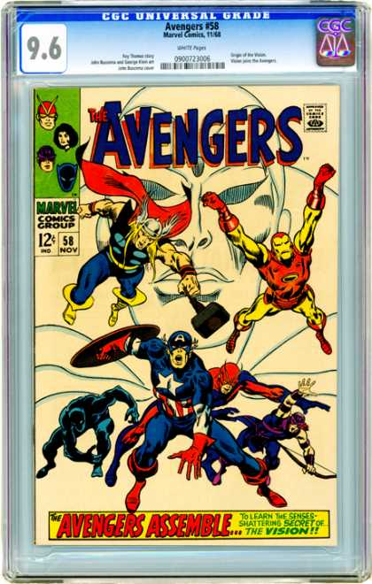 CGC Graded Comics - Avengers #58 (CGC) - Avengers - Marvel Comics Group - 58 Nov - Approved By The Comics Code Authority - The Vision