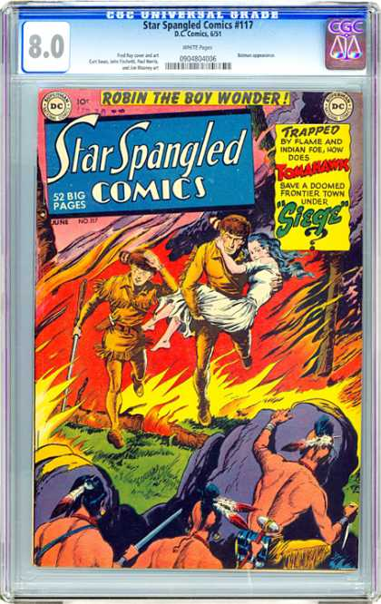 CGC Graded Comics - Star Spangled Comics #117 (CGC) - Lady In White Dress - Flames - Fire - Racoon Hats - Indian Behind Rocks
