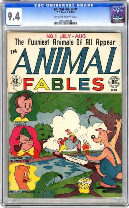 CGC Graded Comics - Animal Fables #1 (CGC) - No 1 July - Aug - The Funniest Animals Of All - Animal Fables - Grease - Slip On Log