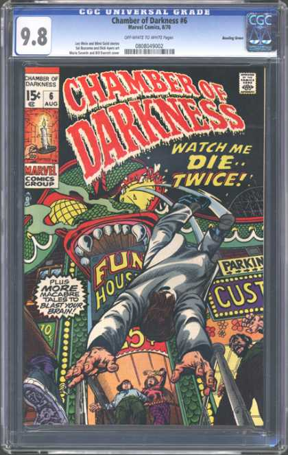 CGC Graded Comics - Chamber of Darkness #6 (CGC) - Fun House - Watch Me Die Twice - Macabre Tales To Blast Your Brain - Man Falling - Parking