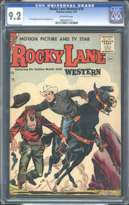 CGC Graded Comics - Rocky Lane Western #74 (CGC) - Featuring His Stallion Black Jack - Western - Cowboy - Revolver - Horse