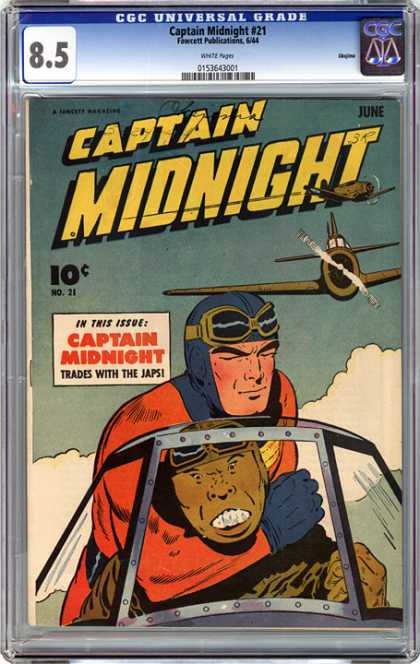 CGC Graded Comics - Captain Midnight #21 (CGC) - Captain Midnight - Fighter Planes - Clouds - Pilot - Japs