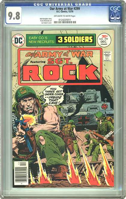 CGC Graded Comics - Our Army at War #299 (CGC) - Sgt Rock - The Protector - 3 Soldiers - Our Army At War - Fire In The Hole