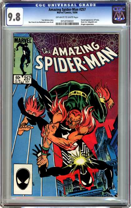 CGC Graded Comics - Amazing Spider-Man #257 (CGC) - Spiderwebs - Dark Costume - Falling Off Building - Hairy Man With Red Hair - Reddish Sky