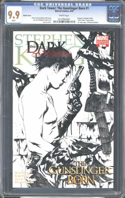 CGC Graded Comics - Dark Tower: The Gunslinger Born #1 (CGC) - Steven King - The Gunslinger Born - Gun - Bullets - Black And White