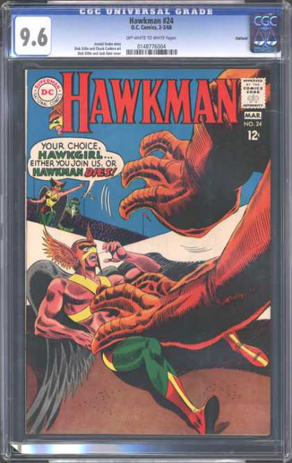 CGC Graded Comics - Hawkman #24 (CGC) - Hawkman - Get Your Dirty Hands Offa Me - Clawed - Join Or Die - Hawkman In The Claw Of The Devil