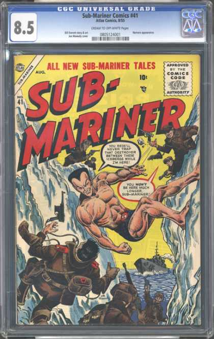 CGC Graded Comics - Sub-Mariner Comics #41 (CGC) - Destroyer - Ship - Icebergs - Soldiers - Battle